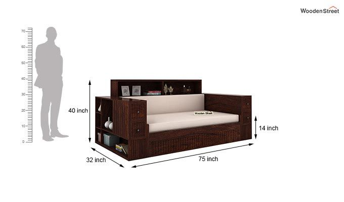 Arley Sofa Cum Bed (Queen Size, Walnut Finish)-8