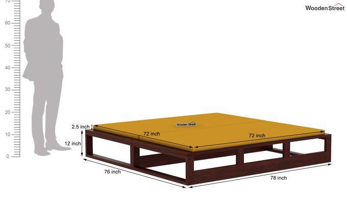 Bacon Divan Cum Bed (King Size, Yellow Blush, Mahogany Finish)-10