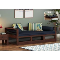 Bacon Divan Cum Bed (King Size, Indigo Ink, Walnut Finish)