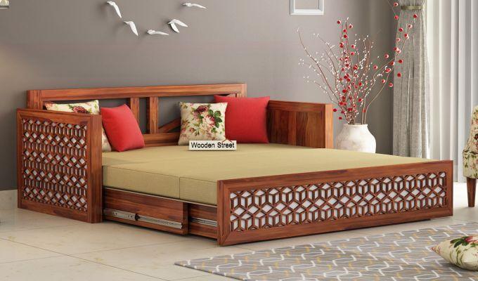 Betty Sofa Cum Bed (King Size, Honey Finish)-2