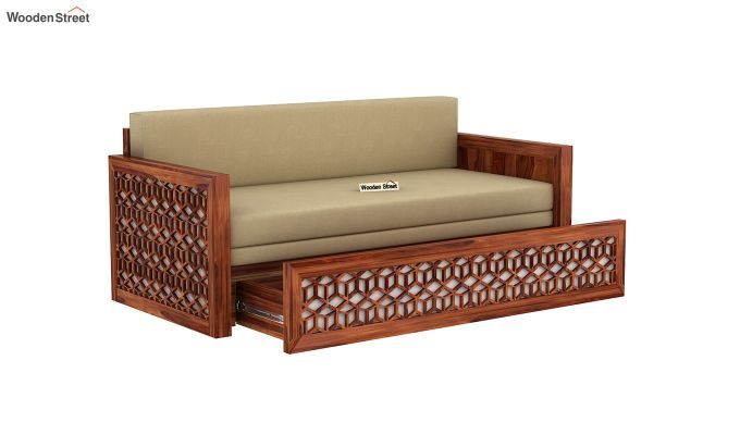 Betty Sofa Cum Bed (Queen Size, Honey Finish)-5