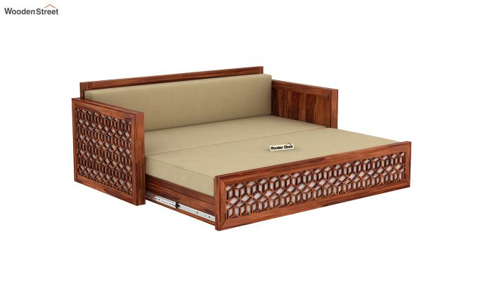 Betty Sofa Cum Bed (Queen Size, Honey Finish)-7