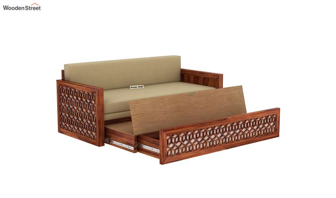 Betty Sofa Cum Bed (Queen Size, Honey Finish)-8