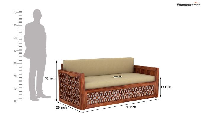 Betty Sofa Cum Bed (Queen Size, Honey Finish)-11