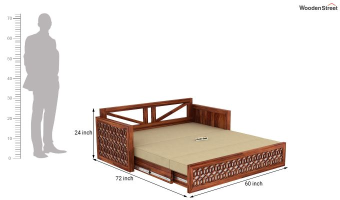 Betty Sofa Cum Bed (Queen Size, Honey Finish)-12