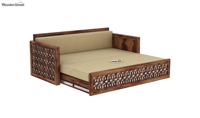 Betty Sofa Cum Bed (Queen Size, Teak Finish)-7