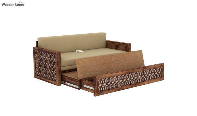 Betty Sofa Cum Bed (Queen Size, Teak Finish)-8