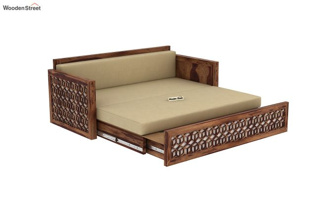 Betty Sofa Cum Bed (Queen Size, Teak Finish)-9