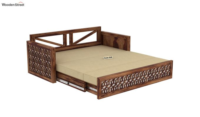 Betty Sofa Cum Bed (Queen Size, Teak Finish)-10