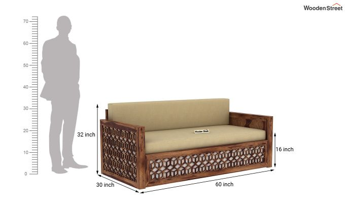 Betty Sofa Cum Bed (Queen Size, Teak Finish)-11