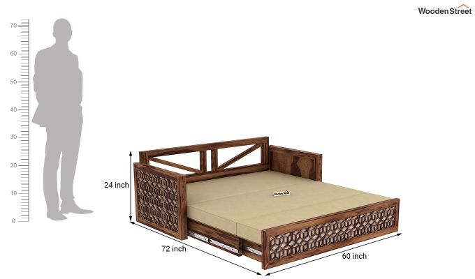 Betty Sofa Cum Bed (Queen Size, Teak Finish)-12