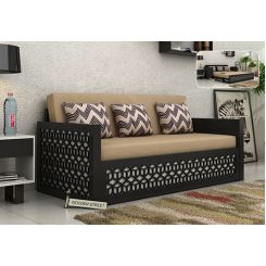 Betty Sofa Cum Bed (Queen Size, Black Finish)