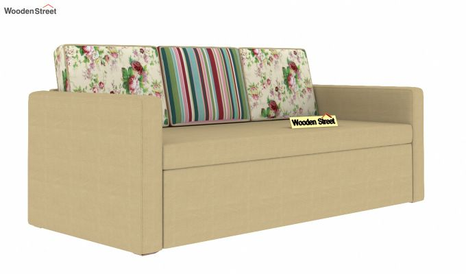 Claridge Sofa Cum Bed With Printed Cushions (Irish Cream)-2