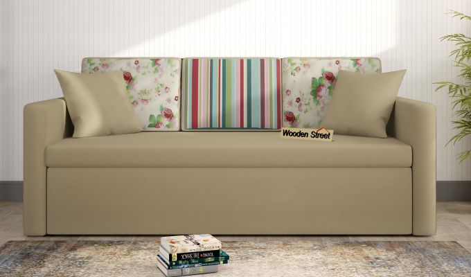 Claridge Sofa Cum Bed With Printed Cushions (Irish Cream)-1