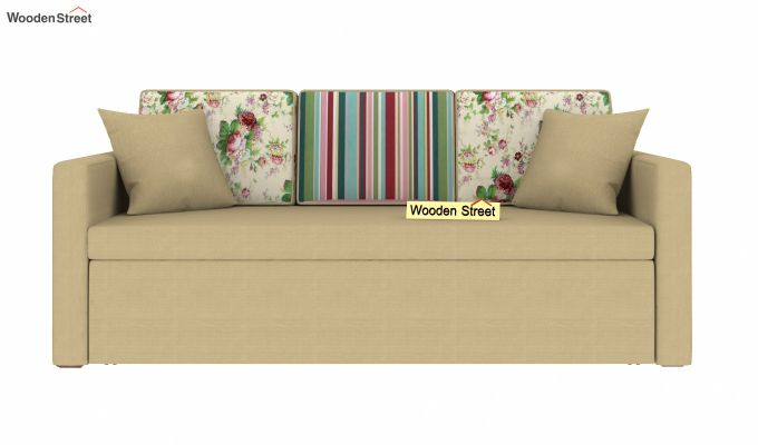 Claridge Sofa Cum Bed With Printed Cushions (Irish Cream)-3