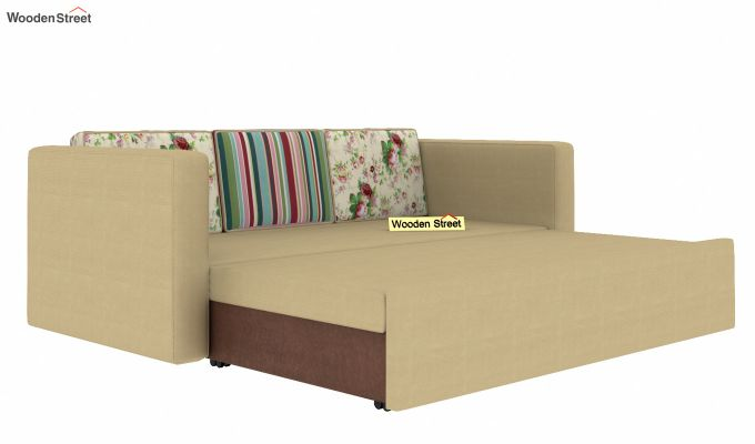 Claridge Sofa Cum Bed With Printed Cushions (Irish Cream)-5