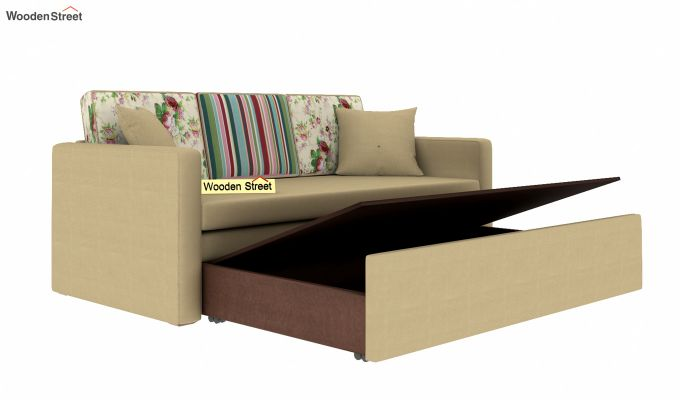 Claridge Sofa Cum Bed With Printed Cushions (Irish Cream)-6