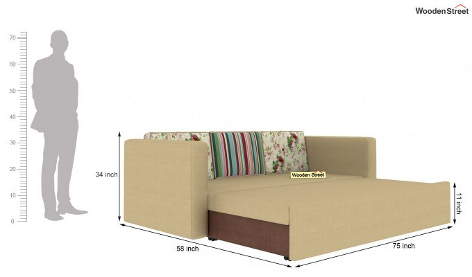 Claridge Sofa Cum Bed With Printed Cushions (Irish Cream)-7