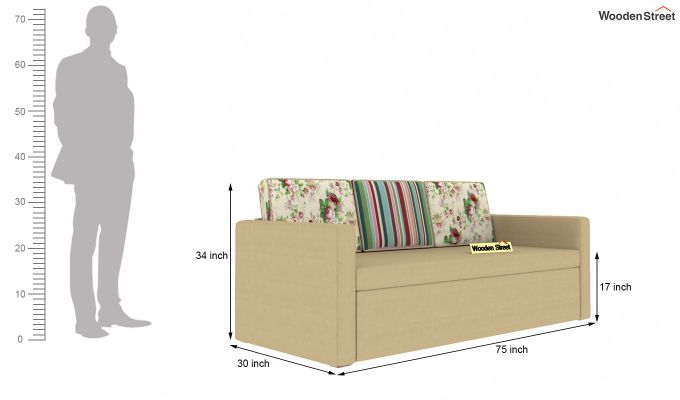Claridge Sofa Cum Bed With Printed Cushions (Irish Cream)-8