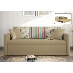Claridge Sofa Cum Bed With Printed Cushions (Irish Cream)