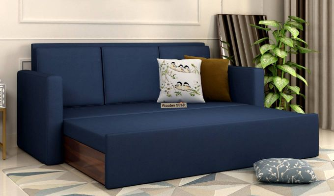 Claridge Fabric Sofa Cum Bed (Indigo Ink)-2
