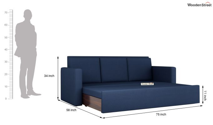 Claridge Fabric Sofa Cum Bed (Indigo Ink)-8