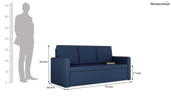 Claridge Fabric Sofa Cum Bed (Indigo Ink)-7
