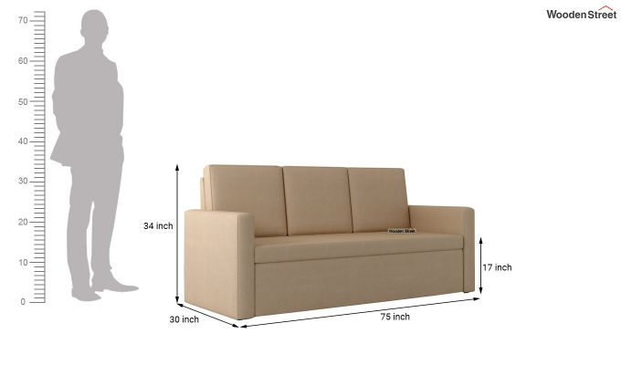 Claridge Fabric Sofa Cum Bed (Irish Cream)-7