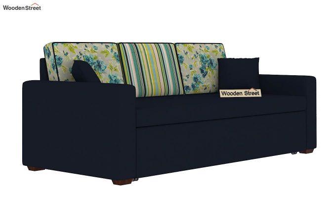 Claridge Sofa Cum Bed With Printed Cushions (Indigo Ink) (indigo ink)-3