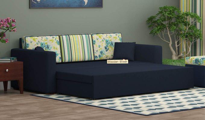 Claridge Sofa Cum Bed With Printed Cushions (Indigo Ink) (indigo ink)-2
