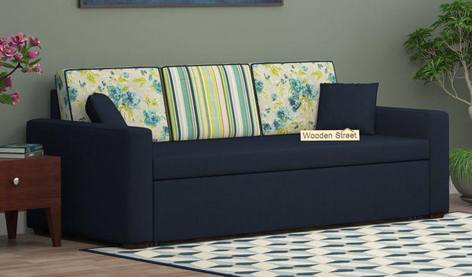 Claridge Sofa Cum Bed With Printed Cushions (Indigo Ink) (indigo ink)-1