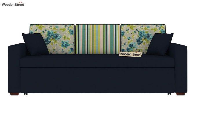 Claridge Sofa Cum Bed With Printed Cushions (Indigo Ink) (indigo ink)-4