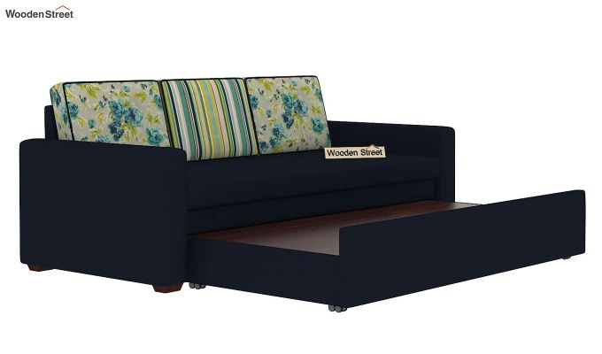 Claridge Sofa Cum Bed With Printed Cushions (Indigo Ink) (indigo ink)-7