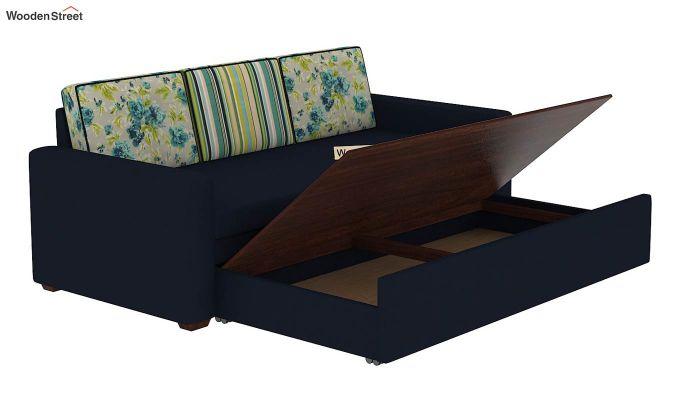 Claridge Sofa Cum Bed With Printed Cushions (Indigo Ink) (indigo ink)-9