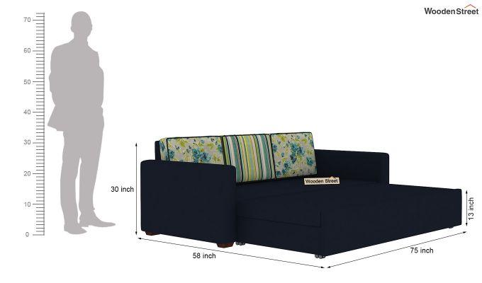 Claridge Sofa Cum Bed With Printed Cushions (Indigo Ink) (indigo ink)-10