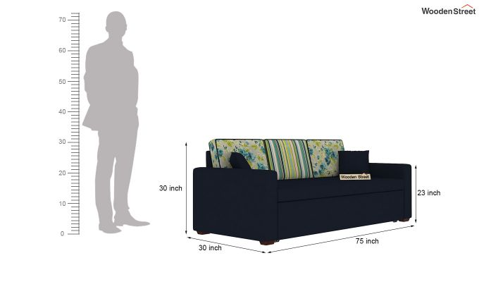 Claridge Sofa Cum Bed With Printed Cushions (Indigo Ink) (indigo ink)-11