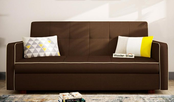 Clarin Fabric Storage Sofa Cum Bed (Classic Brown)-1