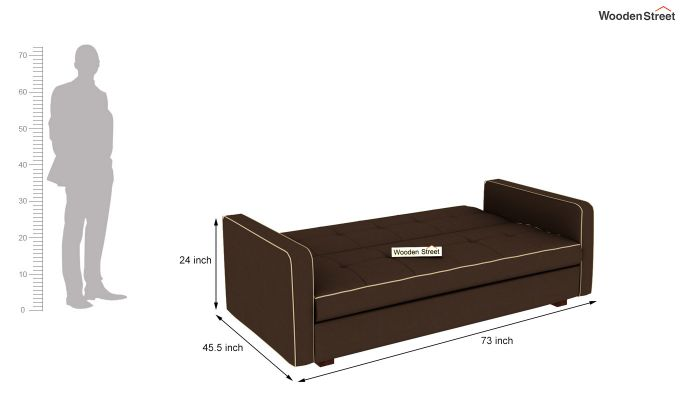 Clarin Fabric Storage Sofa Cum Bed (Classic Brown)-8