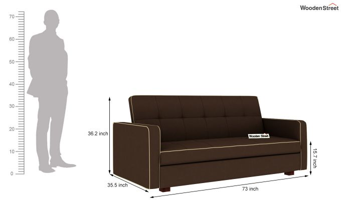 Clarin Fabric Storage Sofa Cum Bed (Classic Brown)-9