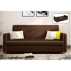Clarin Fabric Storage Sofa Cum Bed (Classic Brown)