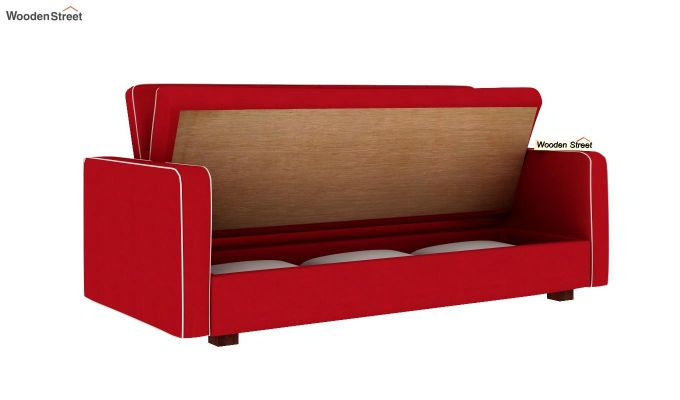 Clarin Fabric Storage Sofa Cum Bed (Dusky Rose)-7