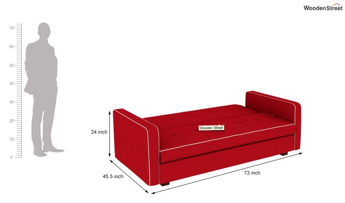 Clarin Fabric Storage Sofa Cum Bed (Dusky Rose)-8