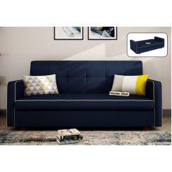 Clarin Fabric Storage Sofa Cum Bed (Indigo Ink)