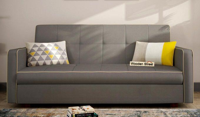 Clarin Fabric Storage Sofa Cum Bed (Warm Grey)-1