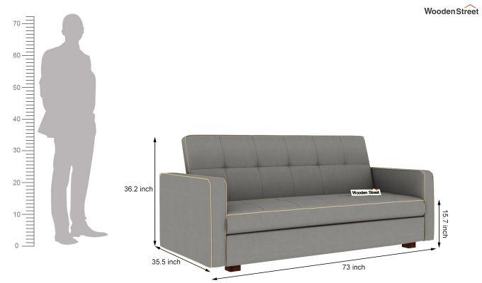 Clarin Fabric Storage Sofa Cum Bed (Warm Grey)-9