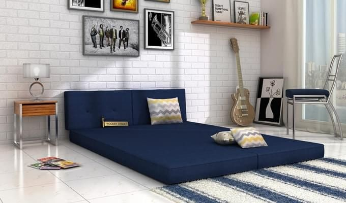 Coleman Futon Bed (Two Seater, Blue)-2
