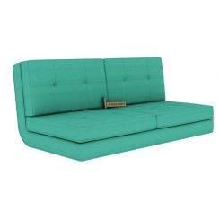 Coleman Futon Sofa Cum Bed (Two Seater, Cyan)