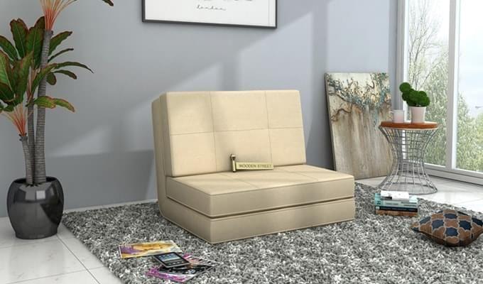 Coleman Futon Single Seater Sofa Cum Bed (Ivory)-1