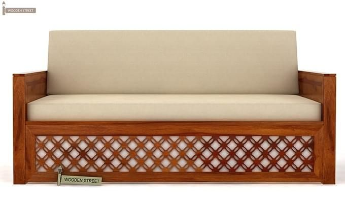 Corsica Sofa Cum Bed (Queen Size, Honey Finish)-1