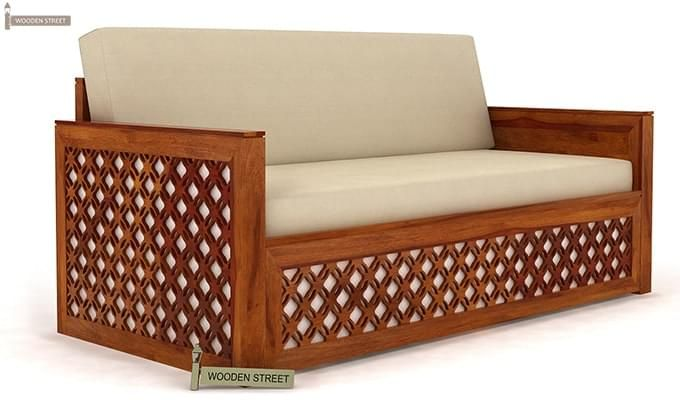 Corsica Sofa Cum Bed (King size, Honey Finish)-2
